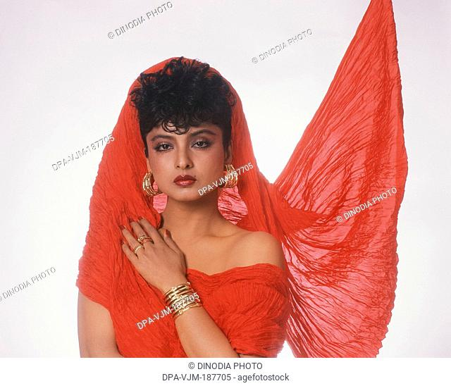 1989, Portrait of Indian film actress Rekha