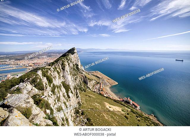 Gibraltar, View from rock to Mediterranean Sea