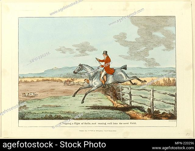 Topping a Flight of Rails, and Coming Well into the Next Field, plate two from Insdispensable Accomplishments - published June 24