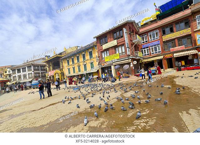 Street Scene around Boudhanath Stupa, UNESCO World Heritage Siite, Kathmandu, Nepal, Asia