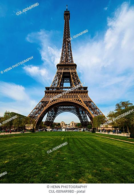View of Eiffel Tower from park, Paris, France