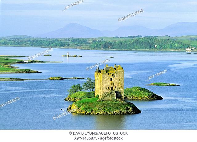 Castle Stalker on Loch Linnhe with Lismore Island behind in middle distance  Summer  Strathclyde Region, west Scotland, UK