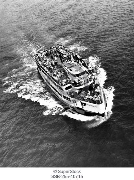 Aerial view of a ferry, Miss Circle Line, New York City, New York State, USA