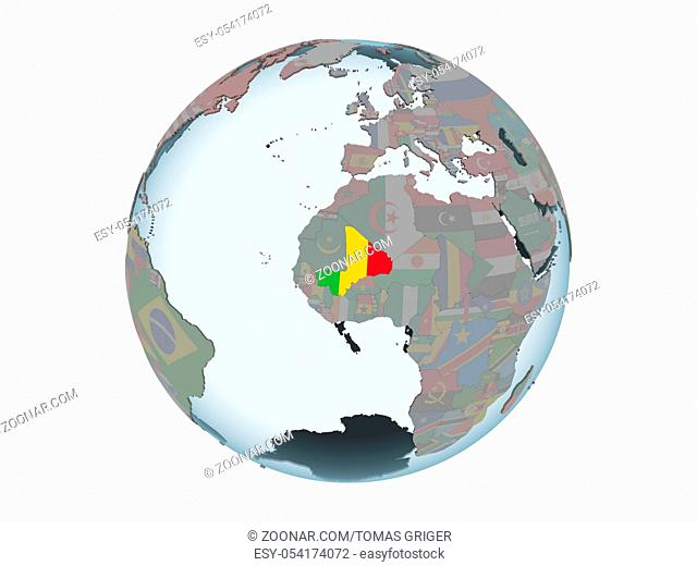 Mali on political globe with embedded flag. 3D illustration isolated on white background
