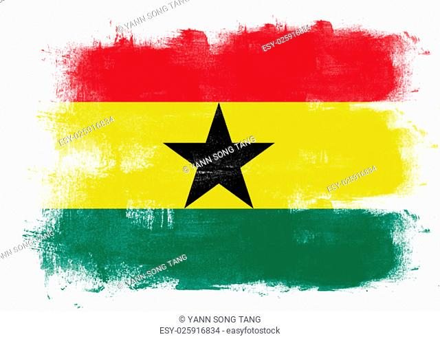 Flag of Ghana painted with brush on solid background