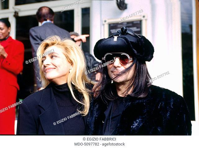 The singer-songwriter Renato Zero (Renato Fiacchini) and the TV presenter Mara Venier (Mara Povoleri) at the press conference for the 1994 Sanremo Music...