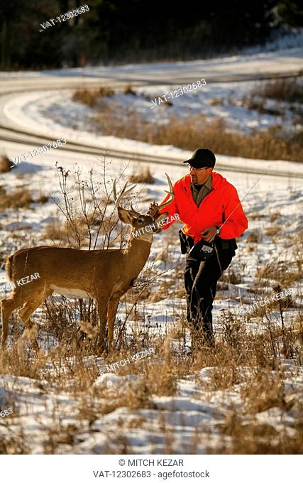 Conservation Officer In Field With Deer Decoy