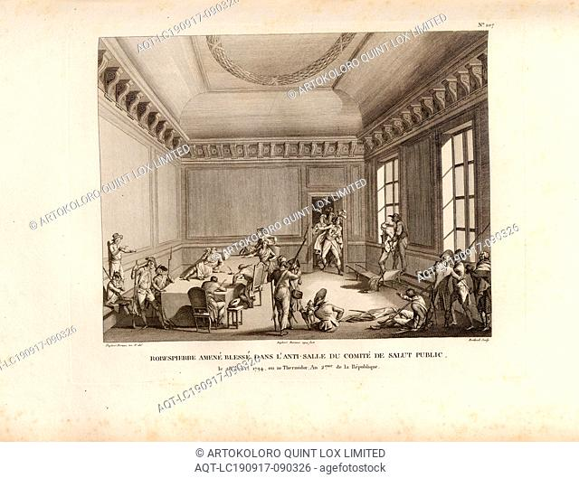 Robespierre brought wounded, in the anti-hall of the Committee of Public Safety, on July 28, 1794, or 10 Thermidor, Year 2