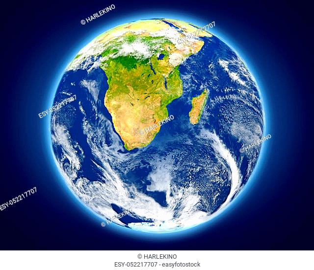 Swaziland highlighted in red on planet Earth. 3D illustration with detailed planet surface. Elements of this image furnished by NASA