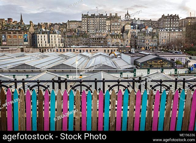 Aerial view with roofs of Waverley Mall and Waverley railway station in Edinburgh, the capital of Scotland, part of United Kingdom