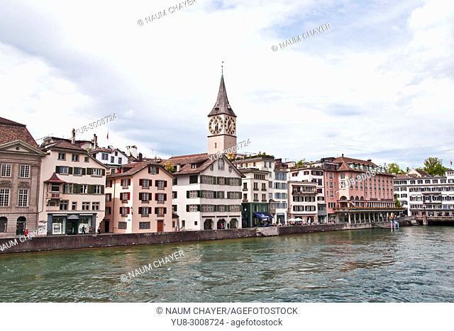 St. Peter Church across Limmat river, Zurich, Switzerland, federal republic, Western Europe