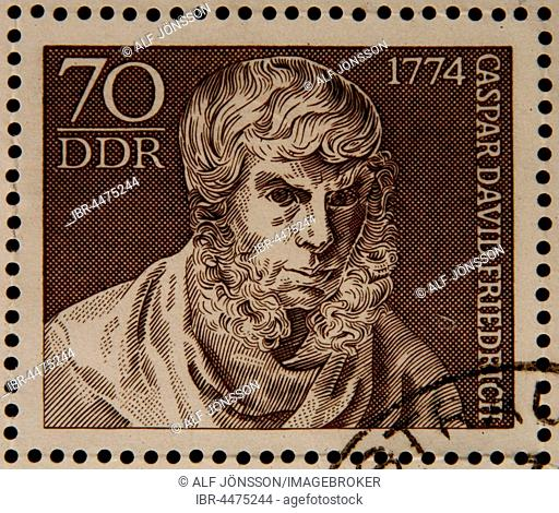 German stamp, GDR, portrait of painter Caspar David Friedrich