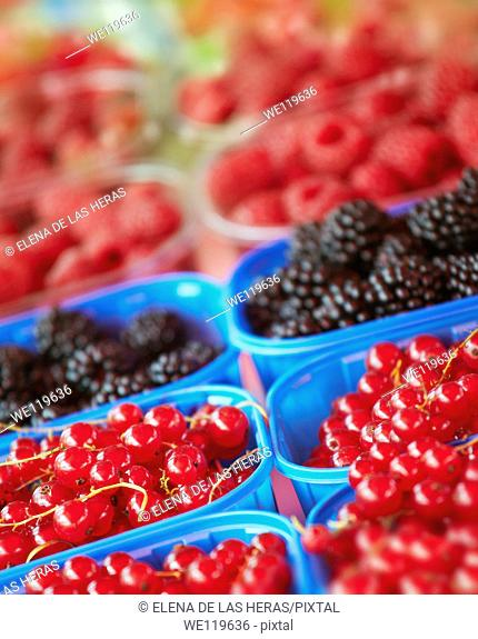 Blueberries, raspberries and blackberries trays at a food market
