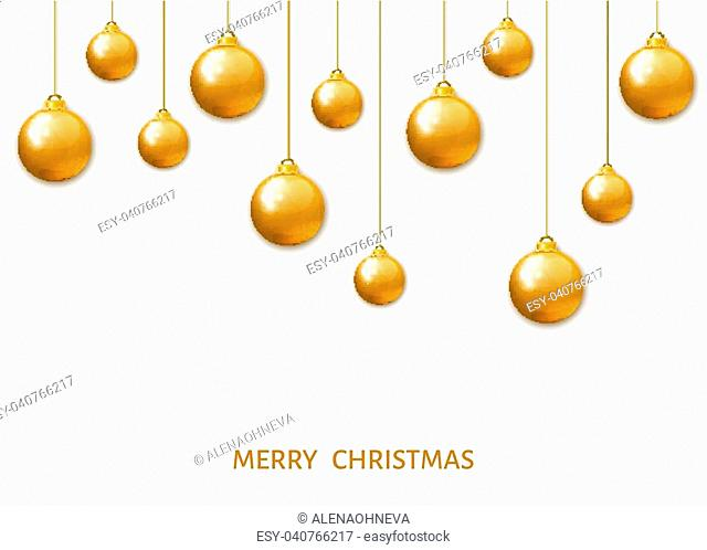 Gold hanging Christmas balls isolated on white background. Xmas realistic baubles. Vector holyday decorations