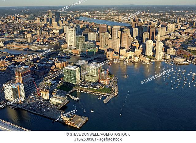 Aerial views of South Boston waterfront, Fan Pier area, Boston, MA, USA