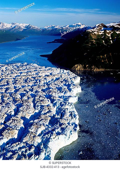 Aerial of Hubbard Glacier Closing Passage to Russell Fiord
