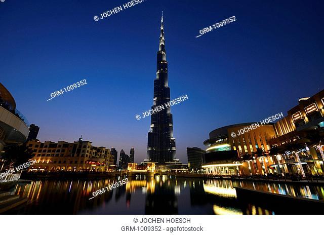 Downtown Dubai with Burj Khalifa and Dubai Mall, United Arab Emirates