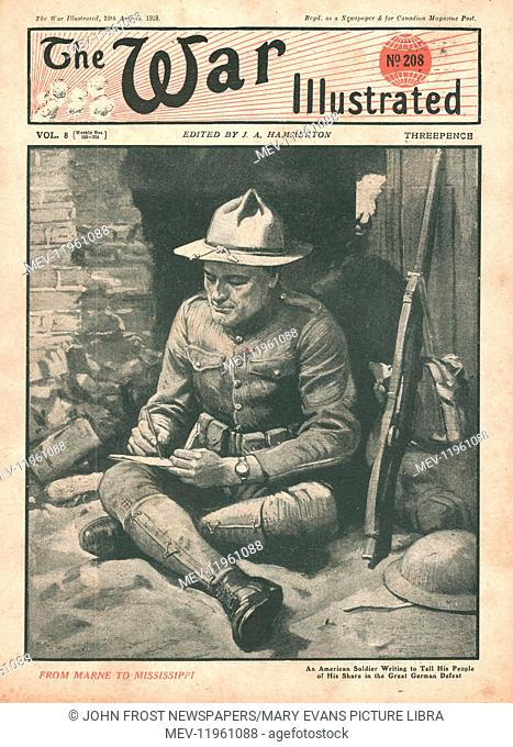1918 War Illustrated American Soldier Writing Home