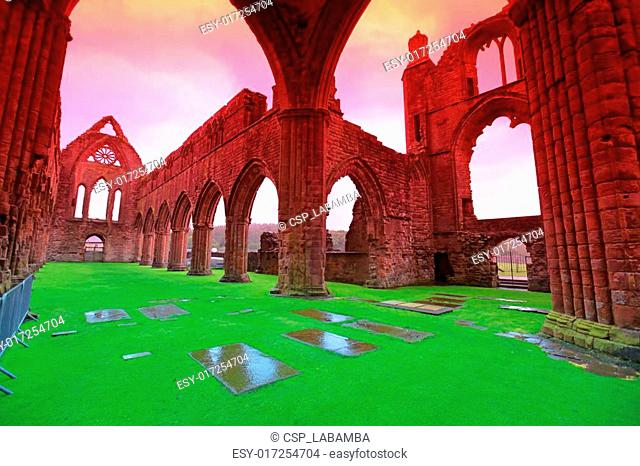 Sweetheart Abbey, ruined Cistercian monastery near to the Nith i
