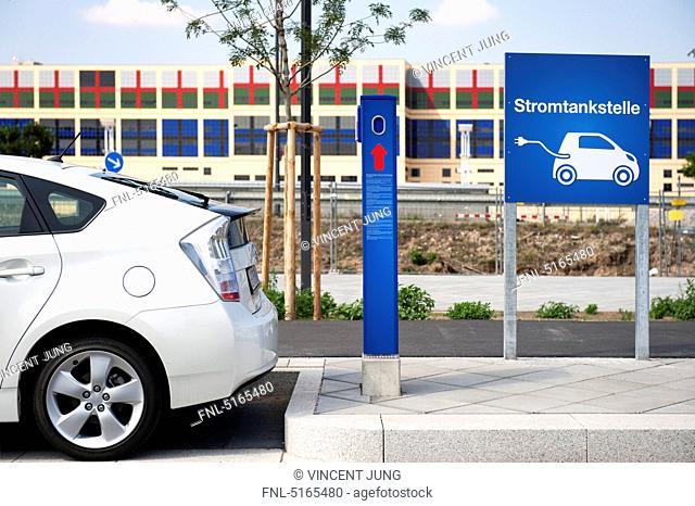 Electric vehicle charging station, Frankfurt Main, Germany