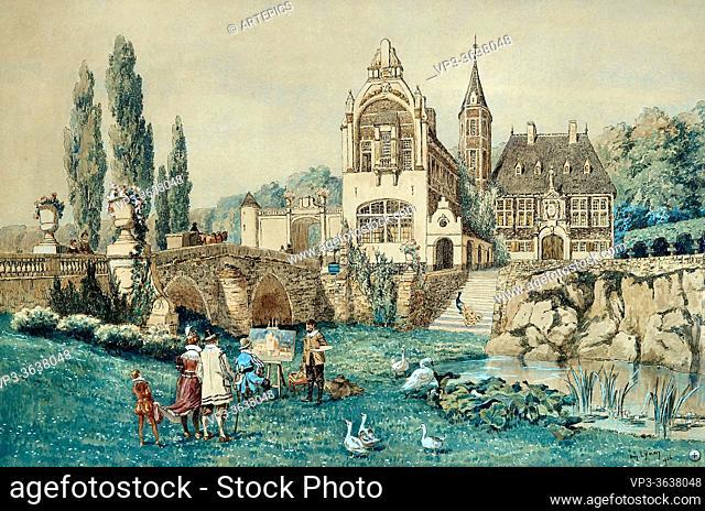 Lynen AméDée - De Schilder Bij Het Schetsen Van Een Kasteel. - Belgian School - 19th Century