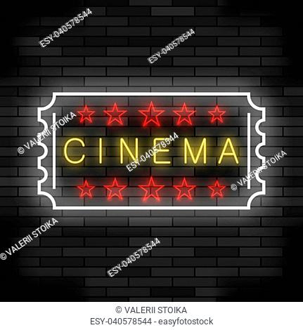 Cinema Light Neon Sign on Brick Background. Colored Signboard. Bright Street Banner