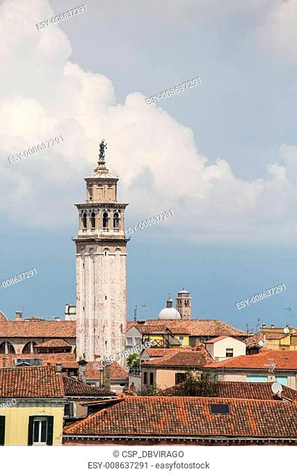 Bell Tower Under Venice Clouds