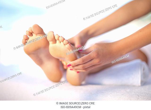 Woman having foot massage