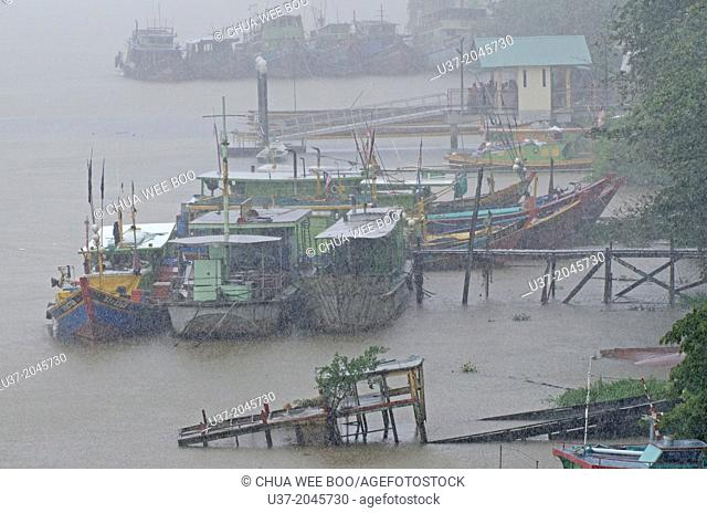 Fishing boats anchored at Sarawak River, Malaysia
