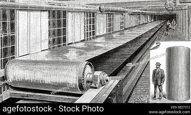 The industry of transmission belts in United States, machine tighten the belts, USA. Old 19th century engraved illustration from La Nature 1893