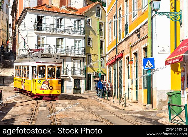 The tramline twenty-eight with its heritage streetcars is a major attraction in Lisboa