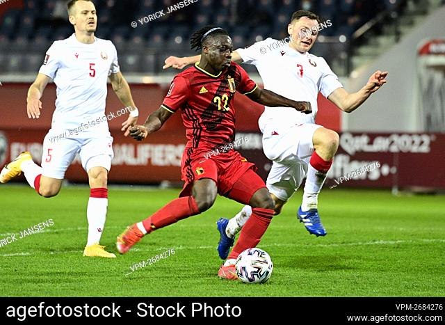 Belgium's Jeremy Doku scoring the 4-0 goal during a qualification game for the World Cup 2022 in the group E between the Belgian national team Red Devils and...