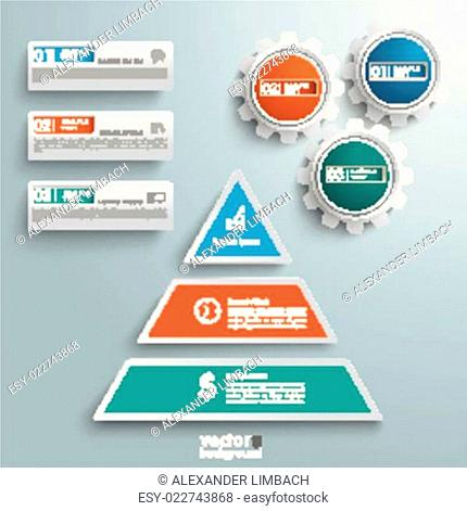 Colored Pyramid 3 Pieces Gears BannersInfographic