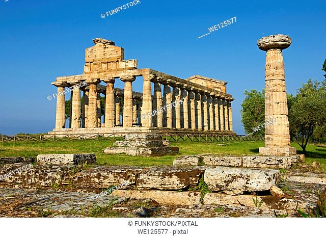 The ancient Doric Greek temple of Athena of Pastum built in about 500 BC. Paestum archaeological site, Italy