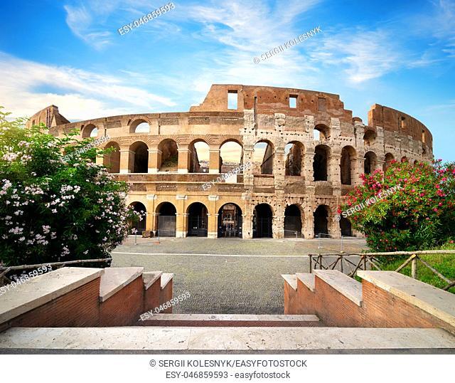 Ancient Colosseum in Rome near the Roman Forum