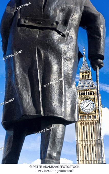Churchill statue & Big Ben, London, UK