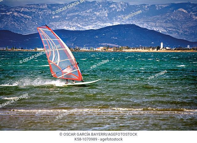 Windsurfing, Ebro Delta, Catalonia, Spain
