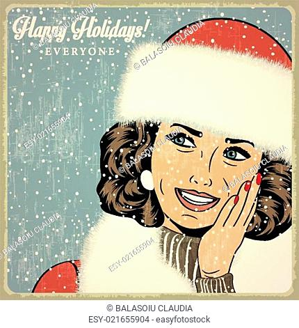 elegant young and happy woman in winter, retro Christmas card