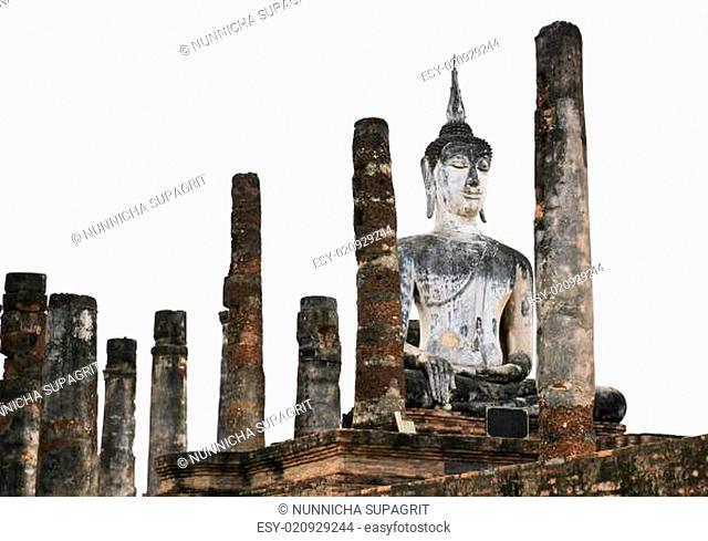 Ancient buddha statue. Sukhothai historical park, the old town of Thailand in 800 year ago