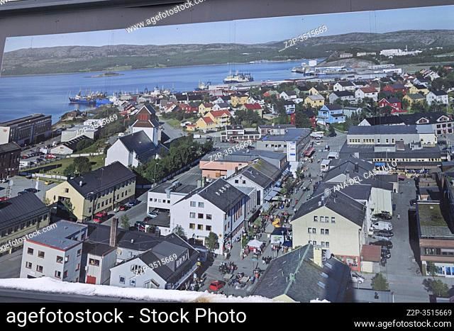 Kirkenes is a town in Sør-Varanger Municipality in Troms og Finnmark county, in the far northeastern part of Norway. Poster at street near the shopping mall