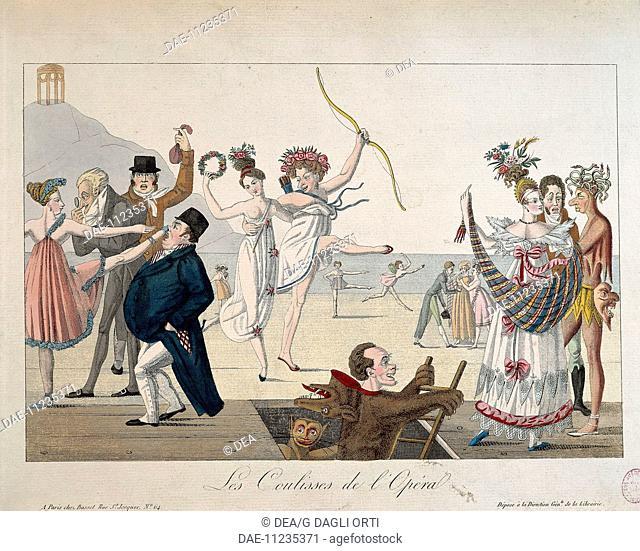 France, 19th century. Theatre, behind the scenes (Les Coulisses de l'Opera). Caricature.  Paris, Hôtel Carnavalet (Art Museum)