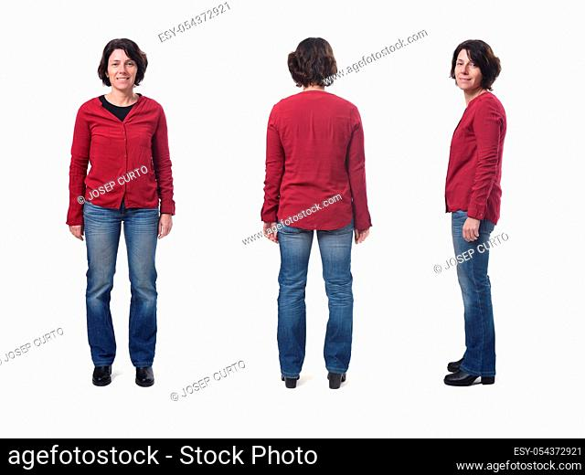 woman with jeans front, sideways and back on white