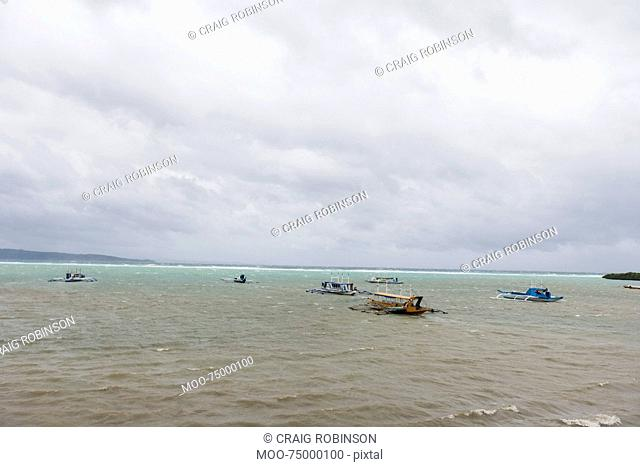 Tourboats in Boracay, Philippines