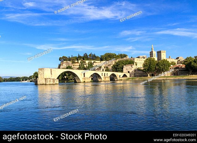 Avignon Bridge with Popes Palace, Pont Saint-Bénezet, Provence