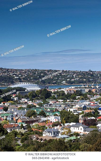 New Zealand, South Island, Otago, Dunedin, elevated city view from Pine Hill