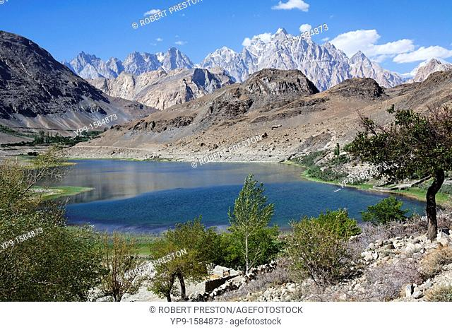 Borith Lake and mountains, Passu, Hunza Valley, Karakorum, Pakistan