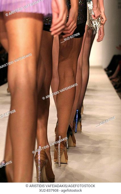 women legs in the greek fashion week in Athens Greece