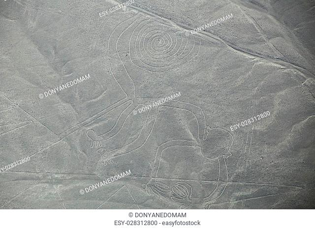 Aerial view of Nazca Lines - Monkey geoglyph, Peru. The Lines were designated as a UNESCO World Heritage Site in 1994