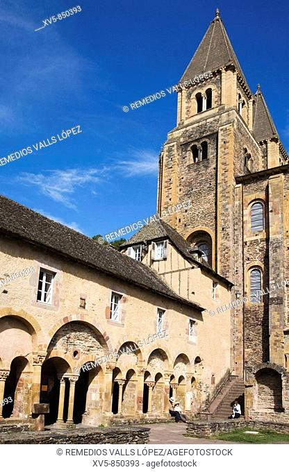 France, Midi Pyrenees, Aveyron, Conques St Foy Abbey, Cloister The village is built on a hillside, with narrow Medieval streets The Sainte Foy Abbey Church was...