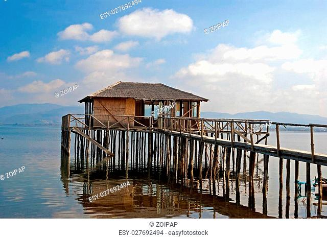 A typical lagoon house of the doiranii area Greece; it is used by the lagoon fishermen